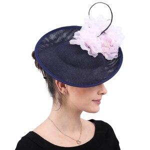 Image 5 - Vintage beige wedding headwear church Big Fascinators party hats women kentucky derby accessories bridal ladies days headpiece