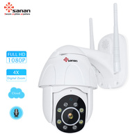 SANAN 1080P Auto Tracking PTZ IP Camera 4X Zoom Speed Dome Wireles CCTV Camera Cloud Storage Wifi Security Camera Outdoor YCC365