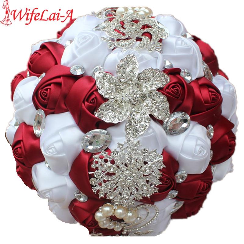 WIFELAI-A Artificial Wedding Bouquets Hand Made Flower Rhinestone Bridesmaid Crystal Bridal Wedding Bouquet De Mariage