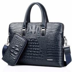 Синяя крокодиловая натуральная кожа, мужская сумка для ноутбука с верхней ручкой, мужские сумки-мессенджеры из крокодиловой кожи, тоут чере...