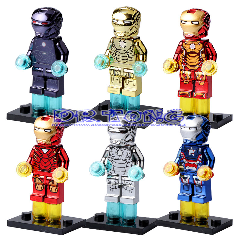Dr tong super hero moc chrome golden iron man mini dolls - Mini iron man ...