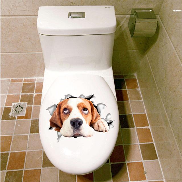 Cats Dogs Wall Sticker Toilet Door Refrigerator Computer Bathroom Decor Animal Decals Art Poster Mural