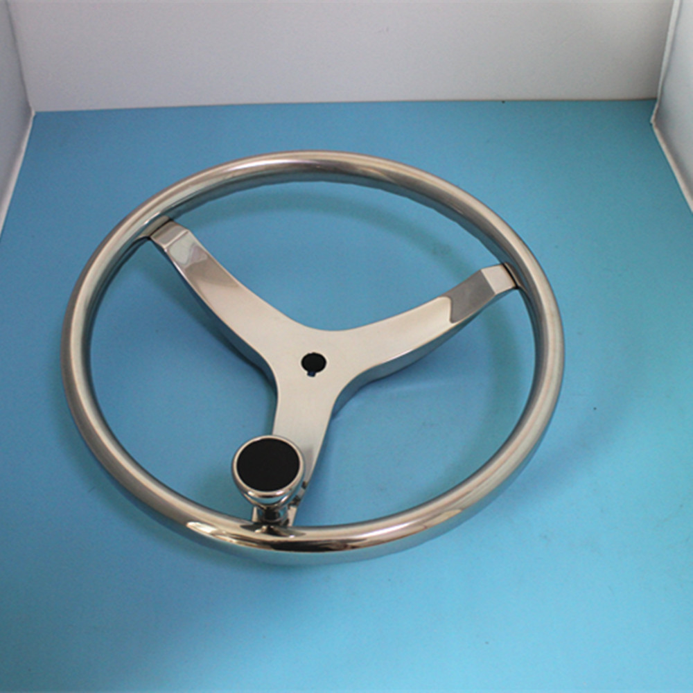 Marine Boat 13.5 Diameter Stainless Steel Destroyer Rim Steering Wheel 3 Spoke With Knob
