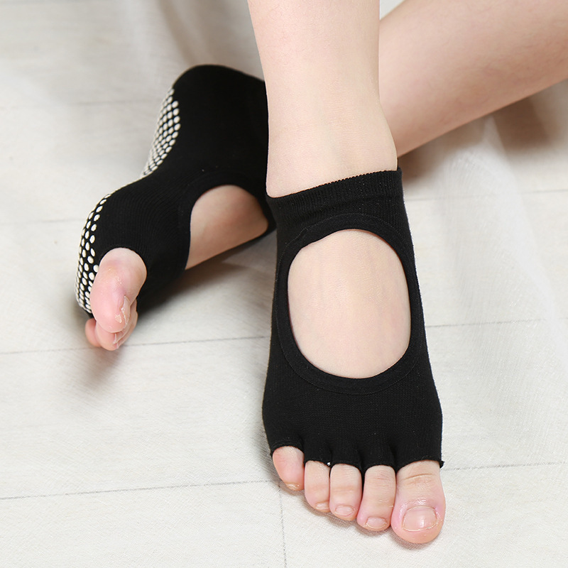 Women Breathable Half Open-toed Five Toe Socks Skidproof Fitness Socks Short Backless Dance Pilates Meias Feminina Calcetines