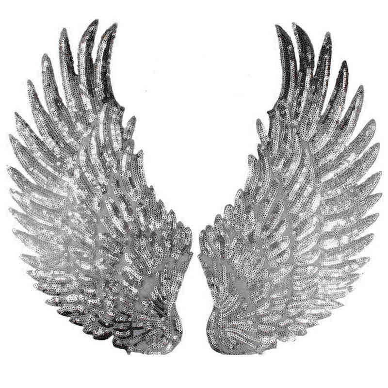 Mayitr Sequins Patch DIY Wings Patches 1 Pair Embroidered Sequins Angel Wing Clothing DIY Applique Accessories