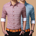 New Men Plaid Shirts Men Casual Shirt Long Sleeve Man Cotton Mandarin Collar Casual Slim Fit Shirts Plus Size 3XL 4XL 5XL