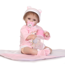 40cm NPK Doll Girl Realistic Reborn Baby Short Hair Lifelike Newborn Silicone Pink Cloth Vinyl