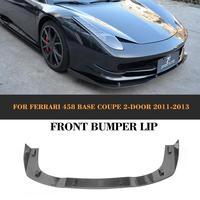 Koolstofvezel Auto Voorbumper Lip Spoiler Vooruit Bumper guard Case Voor Ferrari 458 Coupe 2011 2012 2013 Auto Tuning onderdelen