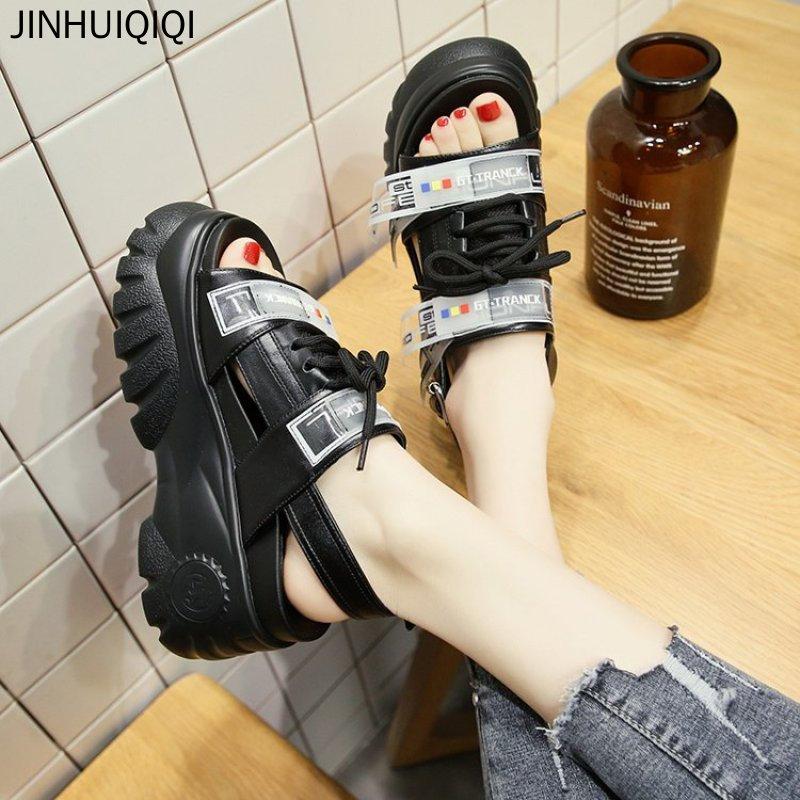 2019 Sommer Gladiator Plattform Frauen Sandalen 8 Cm High Heels Frauen Chunky Strand Sandale Leder Bequem Casual Frau Schuhe