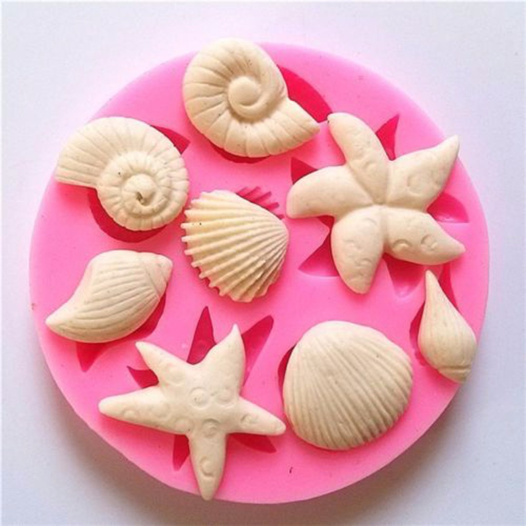 Silicone Shellfish Starfish Shell Soap Mould Cookie Candy Baking Mold Mould Crafts DIY Kitchen Soap Tools Home Decor 85mm*10mm