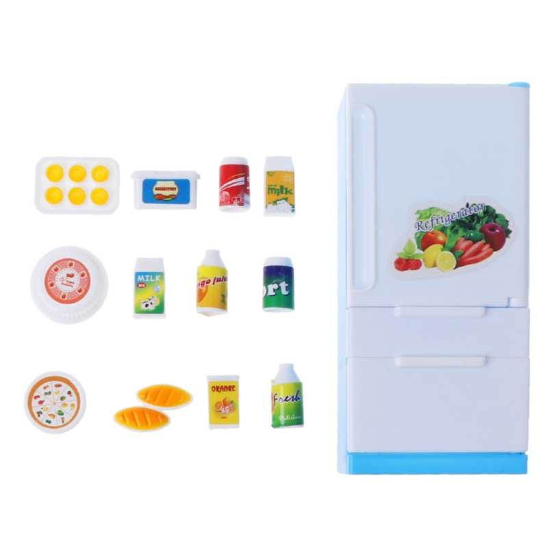 1 set Furniture Play Refrigerator Play Set Doll House Doll Fridge Freezer With Food Barbe Kid Toy