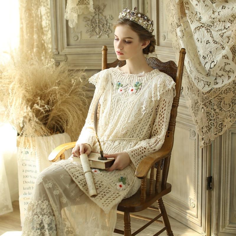 LYNETTE'S CHINOISERIE Printemps Automne Femmes Victoria Vintage Broderie Dentelle Mori Filles Chandail Robes