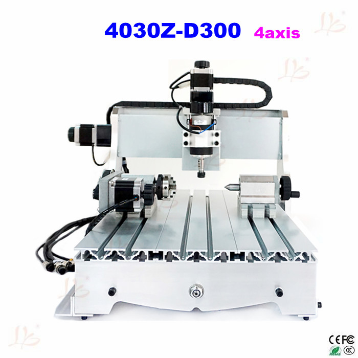 CNC 4030Z-D300 4axis Router price drilling and milling machine new 2015 good price 4 axis cnc router