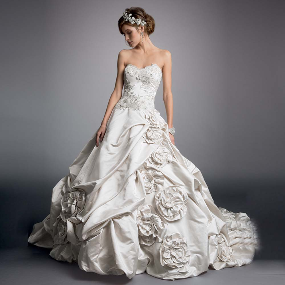 Princess Style Wedding Gowns: 2016 Spring Fashion Tafetta Flowers Princess Style Flower