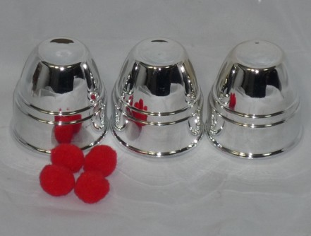 In plastic material with Silver - three <font><b>cups</b></font> <font><b>and</b></font> three <font><b>balls</b></font> (Large) - magic trick, popular magic game for children or for man