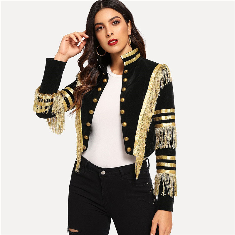 SHEIN Lady Fringe Patched Metallic Double Breasted Stripe Black Gothic Jacket Women Autumn Stand Collar Cropped Jacket 5