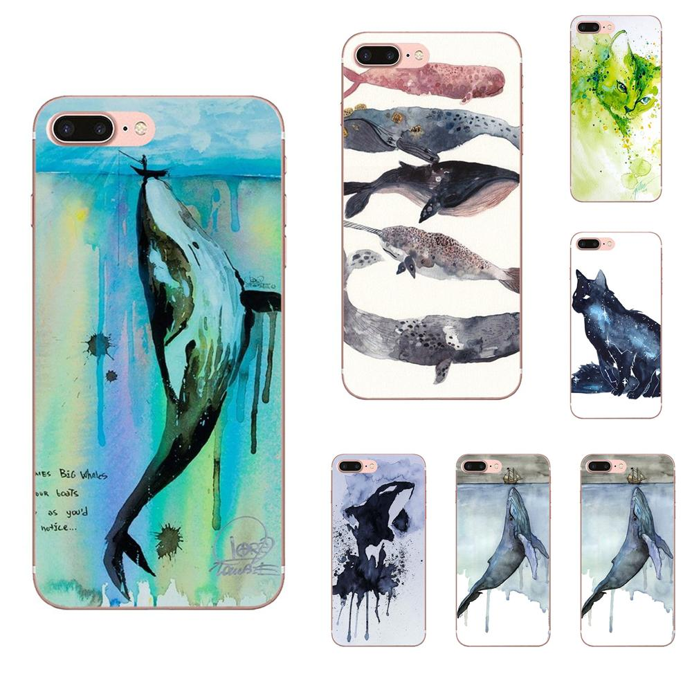Watercolor Painting Animal Cat Whales For Galaxy J1 J2 J3 J330 J4 <font><b>J5</b></font> J6 J7 J730 J8 2015 2016 2017 2018 mini Pro image