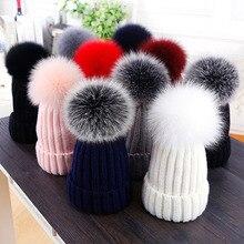 fb90671cf42 Hat female winter hat Real 14cm fox fur ball cap female parent-child cap  Grils