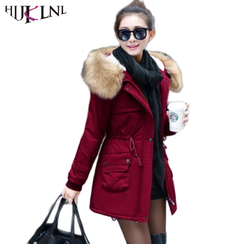 HIJKLNL New 2017 Women Winter Coat Wadded Jacket Medium-long 3XL Parka Fur Collar Thickening Hood Abrigos Female Snow Wear JX025 цены онлайн