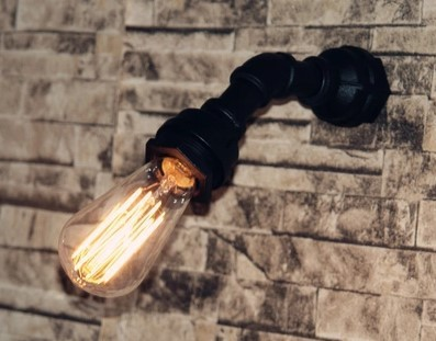 Pittura di ferro tubo industriale lampada applique da parete depoca