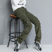 Women Multi pocket Cargo Pants Autumn Winter Plus Size Dance Overalls Trousers Large Size Female Military Army Green pants