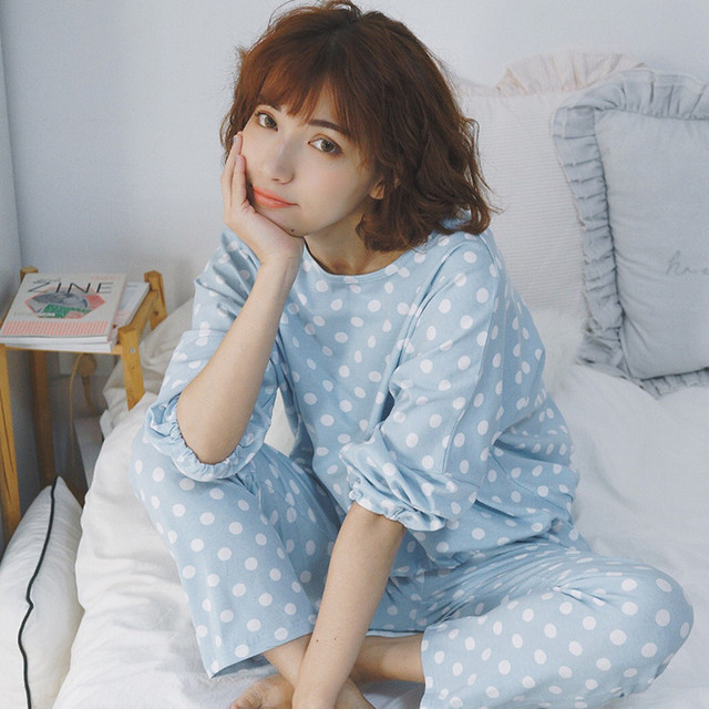 2016 New Autumn and Winter Women Pajama Sets Polka Dot Cute Sleepwear Pajamas For Women Female Girl Long Sleeves Homewear Suit