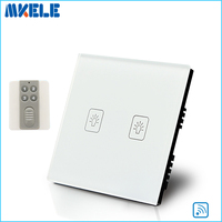 New Arrivals Touch Wall Switch UK Standard 2 Gang 1 Way RF Light Switches White Crystal