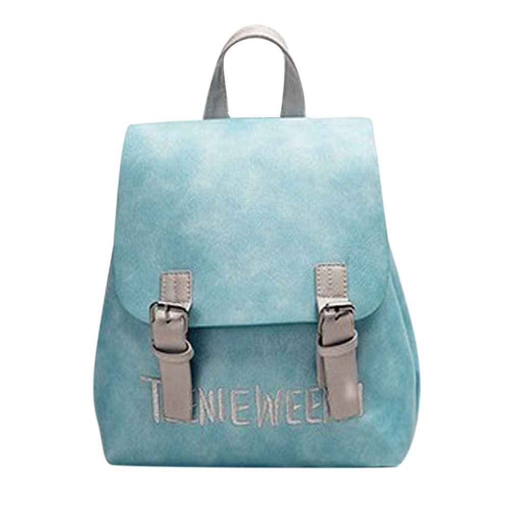f21121755e 2017 New Casual Women PU Leather Letter Embroidery Backpack Travel Bag  Preppy Chic Girls School Bag