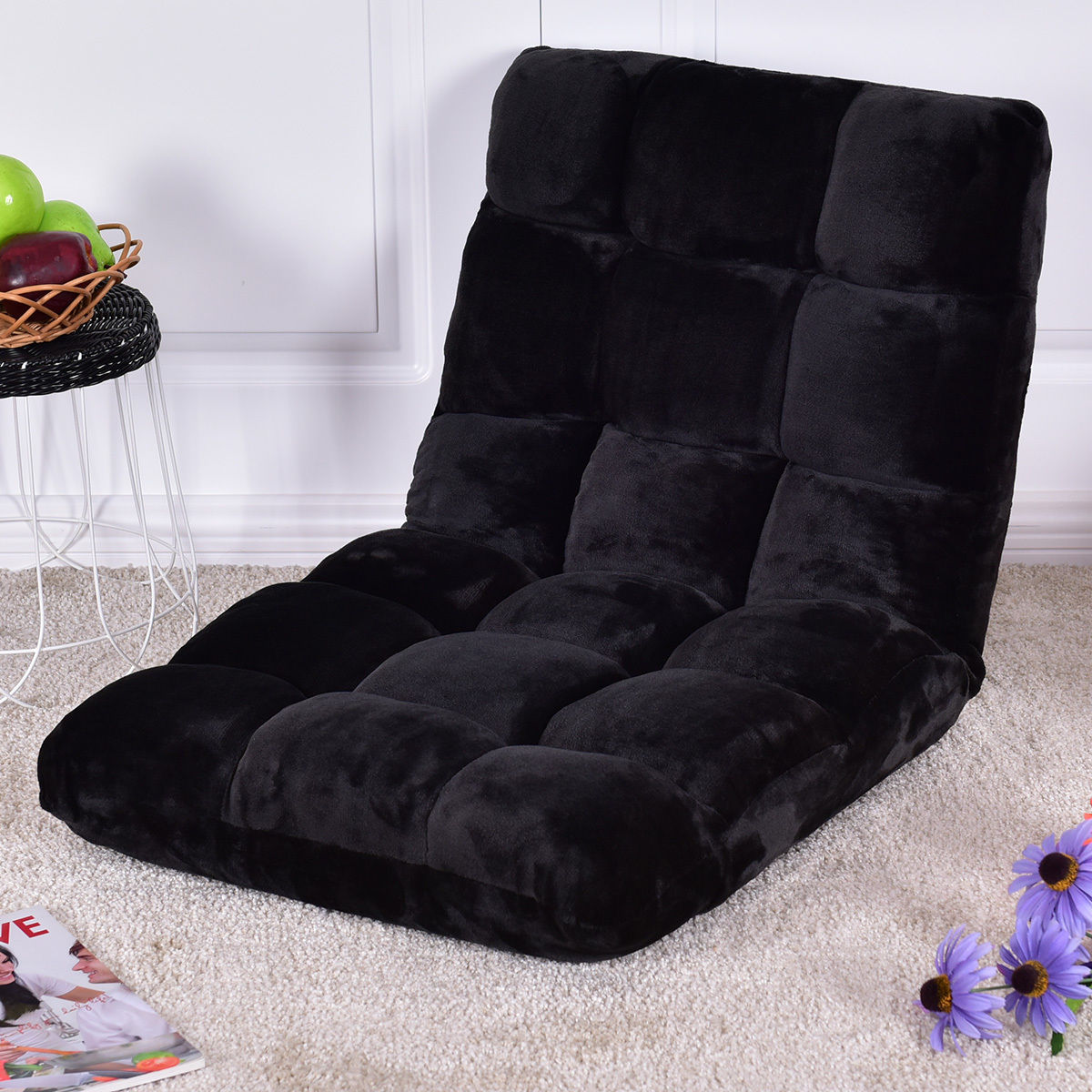Giantex Floor Folding Sofa Chair Lounger 5 Positon Adjustable Sleeper Bed Couch Recliner Multiuse Flannel Floor Chair HW55460BK high quality folding sofa bed living room furniture lounge chair lazy sofa relaxing window corner sofa folding floor chair