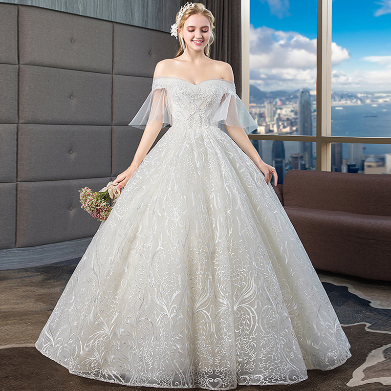 Luxury Lace Embroidery 2019 Wedding Dresses Boat Neck Short Sleeves Beading Elegant Plus sizes Vestido De Noiva Bride Gowm