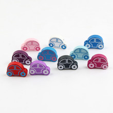 DIY Multicolor mixing Car Shape Wood Beads 25pcs 25x18mm Spacer Beading Wooden Beads for jewelry Making Baby Rattle Accessories