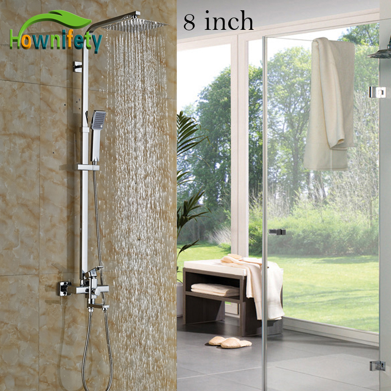 High Quality 8 / 10 / 12 Ultra Thin Brass Shower Head with Single Handle Bathroom Shower Faucet