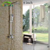 High Quality 8 10 12 Ultra Thin Brass Shower Head With Single Handle Bathroom Shower Faucet