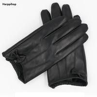 Harppihop Winter Genuine Leather Gloves Women Short Red Black Green Ladies Glove New Brand Bowknot sheepskin Mittens Guantes