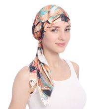 New European and American womens hair accessories headscarf printed curved flower hats Muslim long tailed caps milk silk