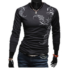 2015 New Fashion Brand Mens Long Sleeve Dragon tattoo T shirt, Casual Baseball Sports Male t-shirt, Man O-neck Undershirt