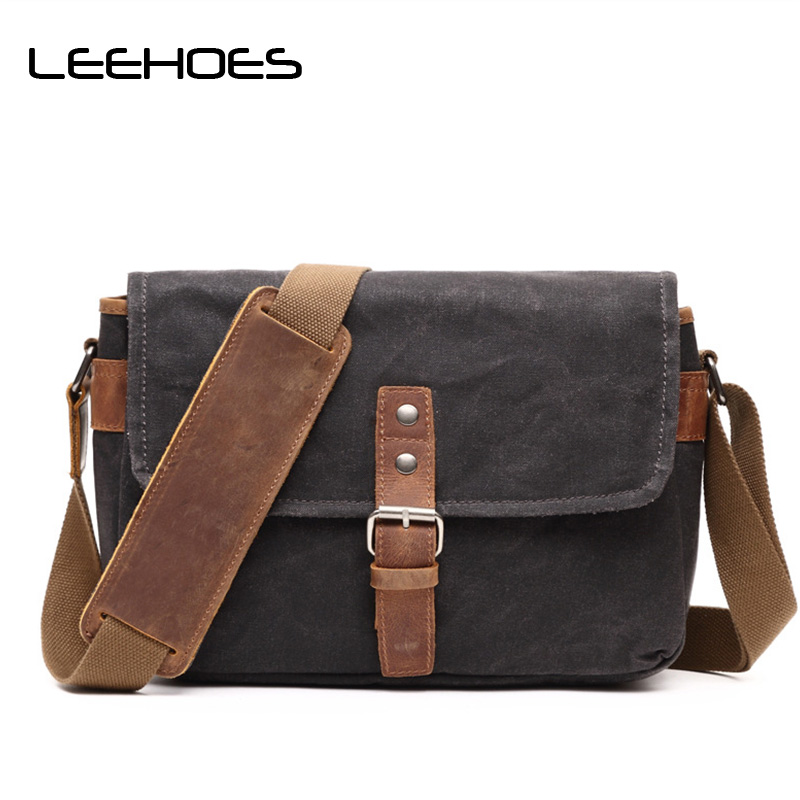 2017 Vinatge New Men Casual Shoulder Bag Wax Canvas with Crazy Horse Skin Bag Waterproof Messenger Bags Retro Camera Travel Bags 2018 new retro style men s shoulder bag canvas bag with leather backpack out door casual travel bag computer bags multi function