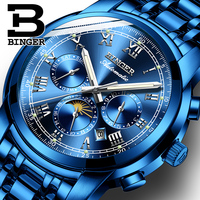 Fashion Full Blue Steel Watches for Men Multi Functional Mechanical Watch Self Winding Moon Phase Analog Watch Calendar Montre