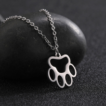 My Shape Fashion Jewelry Stainless Steel Bear Footprint Pattern Pendant Hollow Gold Silver Necklace Men