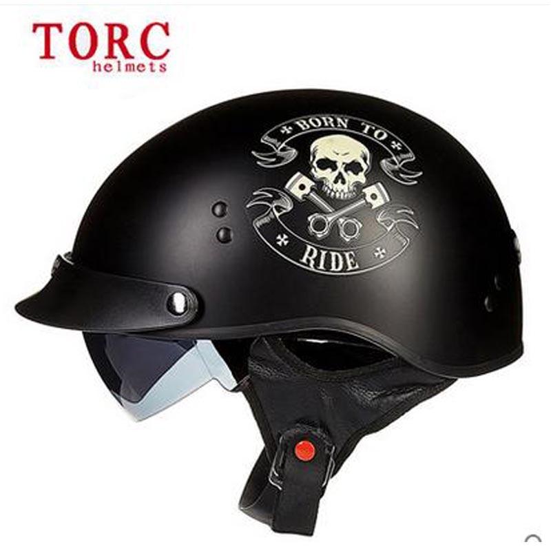 TORC vintage half Face motorcycle helmet Casco Casque Moto Harley retro helmet with Inner Sun Visor DOT aprroved