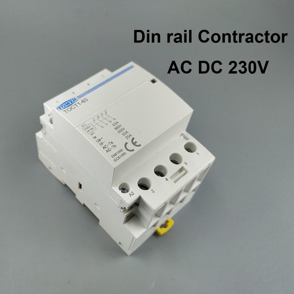 TOCT1 4P 63A 230V AC DC COIL 50/60HZ Din rail Household ac Modular contactorTOCT1 4P 63A 230V AC DC COIL 50/60HZ Din rail Household ac Modular contactor