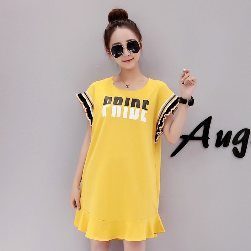 2018 new Korean fashion pregnant women dress long short-sleeved letter printing maternity clothes