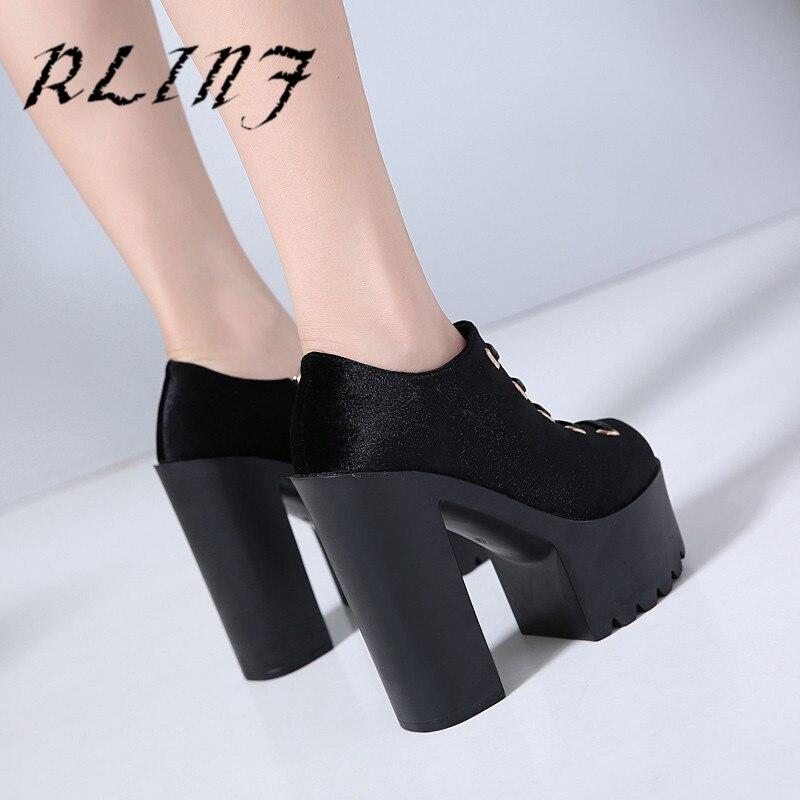 14 Con Mujer Fondo Grueso Cm De Rlinf Aumento 5 Muffin Altura Zapatos La Bottom Negro Un qatn8Wn
