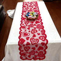 Behogar 33*183cm Red Heart Pattern Table Runner Tablecloth Decorations for Valentines Day Anniversary Wedding Engagements Party