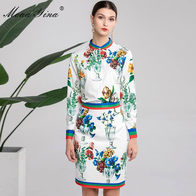 MoaaYina Fashion Set Spring Women Long sleeve Vase Floral