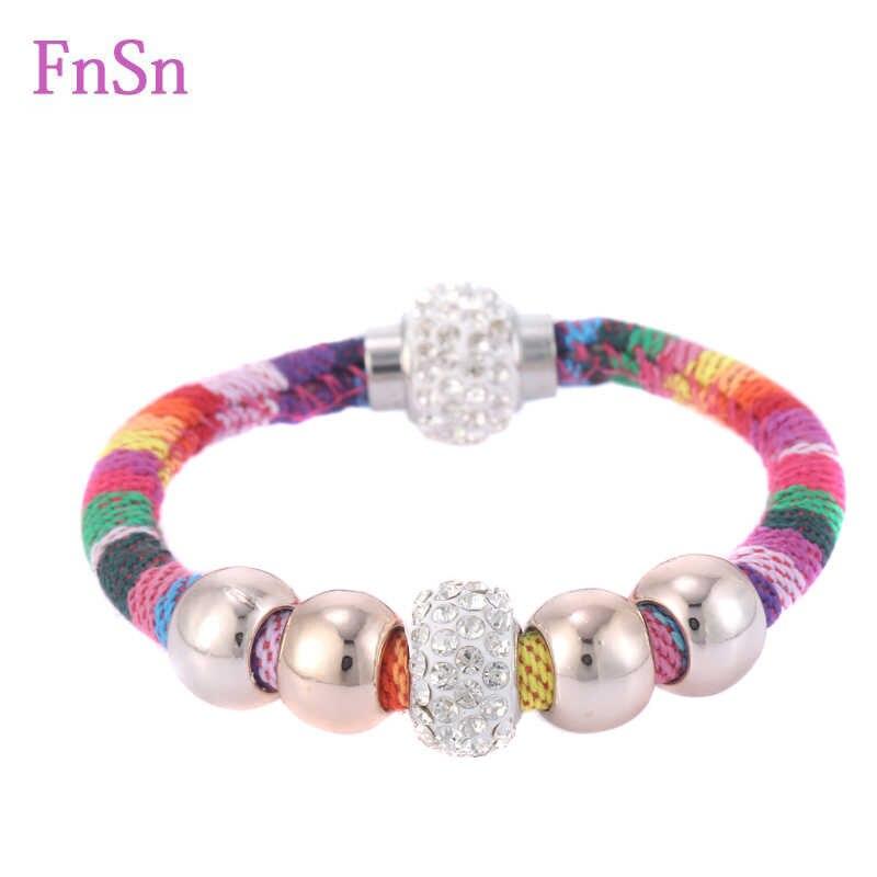 2016 Hot bransoletki dla kobiet wypełnić kryształ kamienie magnetyczne Strand liny bawełniane bransoletka z kolorowy wzór bransoletki biżuteria