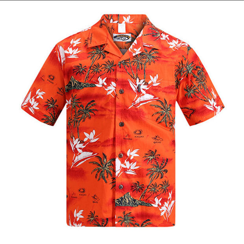 Brand New Hawaiian Shirt Mænd Sommer Kortærmet Palm Tree Trykt Hawaii Shirts US Størrelse Beach Aloha Shirts Hotel Uniform A933