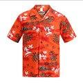 Nova marca camisa havaiana homens verão de manga curta palmeira Hawaii impresso camisas tamanho eua praia Aloha camisas uniforme do Hotel A933