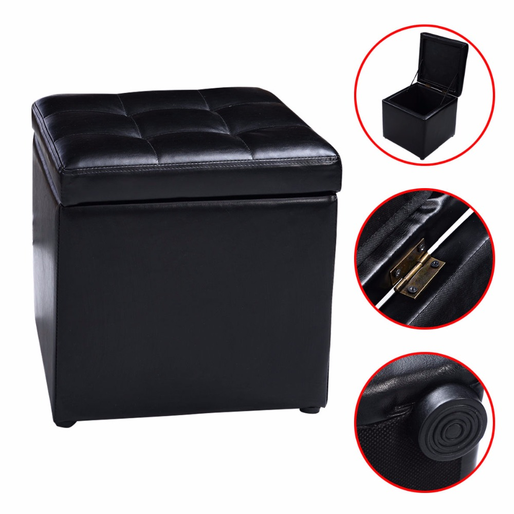 Cube Ottoman Pouffe Storage Box Lounge Seat Footstools with Hinge Top New  HW47908BK(China ( - Popular Ottoman Storage Seat-Buy Cheap Ottoman Storage Seat Lots