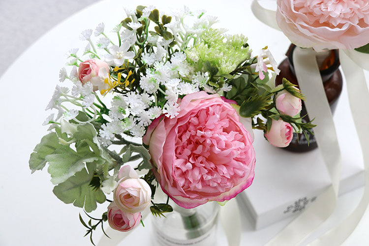 Wedding Bouquet for bridesmaids flowers artificial rose peony (8)